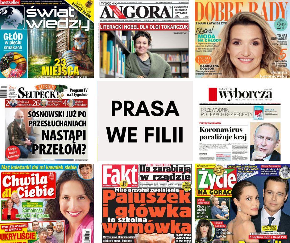Plakat przedstawia okładki gazet dostępnych do wypożyczenia w filii bibliotecznej w Trąbczynie