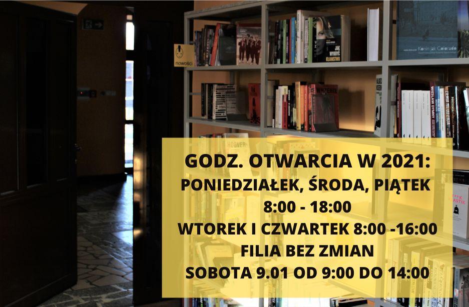 Grafika przedstawia zdjęcie regałów z nowościami książkowymi po prawej stronie oraz po lewej - uchylone drzwi wejściowe do biblioteki. Napis informuje o godzinach otwarcia biblioteki