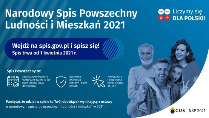 plakat zachęcający do wzięcia udziału w spisie powszechnym